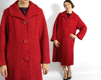 Fushia Red Wool and Mohair Coat 60s | Large