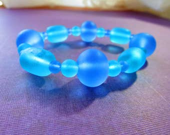 Blue and purple sea glass bracelet, stretch bracelet, gift item