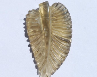 Hand Carved Smoky Quartz, leaf shape, light brown with a hint of grey, 41 x 24 mm