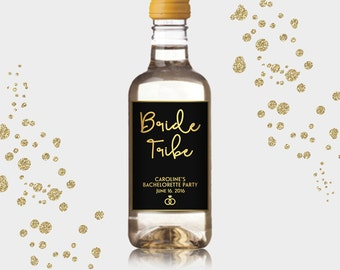 Bride Tribe Mini Wine Bottle Labels, Customized Party Favors - Gold & Black, Mini Wine Labels - DIY Print, Printable PDF - #GWR