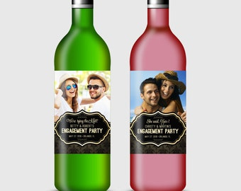 Customized Wine Bottle Label for Engagement, Rehersal Dinner, Wedding or other Party - Printable PDF