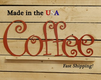Coffee Sign, Metal Art, Coffee Shop Sign, Coffee Decor, Outdoor Wall Art, Kitchen Decor, Metal Sign, Sign, Indoor, W1003