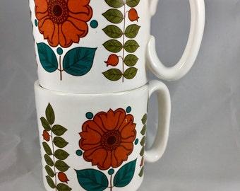 1970s Stacking Flower Mugs