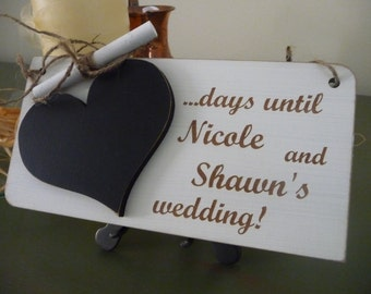Custom Wedding Countdown Sign, Personalised Wedding Countdown Chalkboard Sign, Days Until Wedding Sign, Engagement Sign