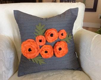 Orange Poppy Pillow, Flower Pillow,Piped Pillow, Blue gray Pillow, Herringbone Pillow, Wedding Accent Pillow, Decorative Pillow, Sofa Cush