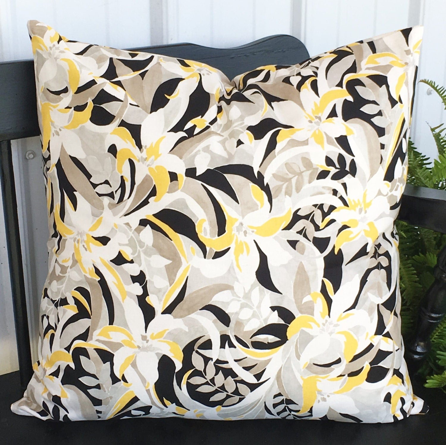 Black White And Yellow Decorative Pillows : Pillow cover 20x20 black yellow taupe and white Decorative