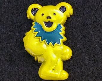 Yellow Grateful Dead 3D Dancing Bear Pin -Officially Licensed Grateful Dead Lapel Hat Pins