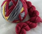 Self-Striping Sock/Fingering weight Hand Dyed  Merino Superwash/Nylon Yarn 100 grams - The Boy who Lived colourway