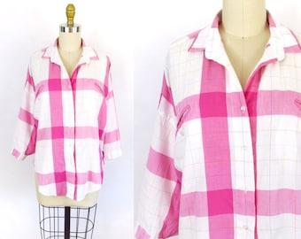 M-2XL • 1980's/90's • Diane VonFurstenberg Pink White Plaid Shirt