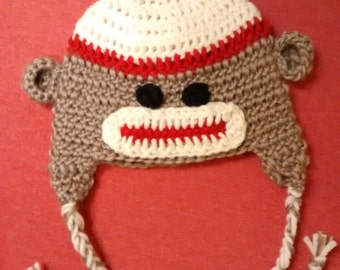 Newborn Sock Monkey Beanie