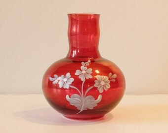 English Cranberry ,glass,jar,glass vase, home decor