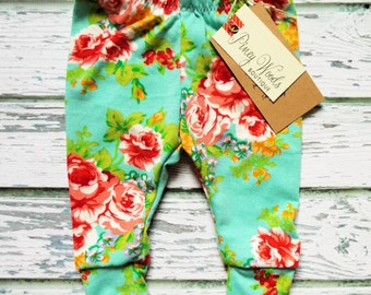 Brick Red on Aqua Floral Leggings, Toddler Leggings, Baby Leggings, NB-5T, Girls Leggings