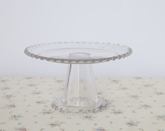 Vintage Cake Stand in Candlewick Style - mini cake stand for afternoon tea & cupcakes or vintage wedding cake display