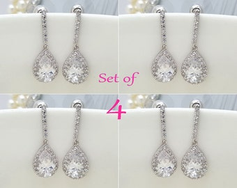 Set of 4, Four Earrings, AAA Cubic Zirconia Tear Drop Wedding bridal Earrings, CZ bridesmaid earrings gifts