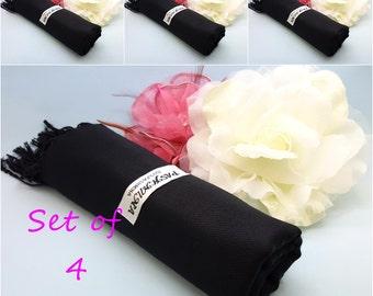Set of 4 Wedding pashmina/ pashmina shawl/ wedding cover ups/ 4 bridesmaids/bridal accessories/ shawl/ pashimina/ BLACK pashmina