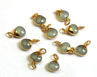 6 Pcs Aqua Chalcedony Heart Connector with 24K Gold Electroplated Edge & Capped, Gemstone Double Loop Pendant or Single Loop Charm EHP03