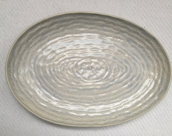 Lace in porcelain serving dish plate blue