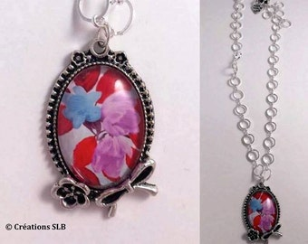 Cabochon pink and blue flower with loop necklace