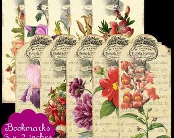 10 Vintage Floral Bookmarks