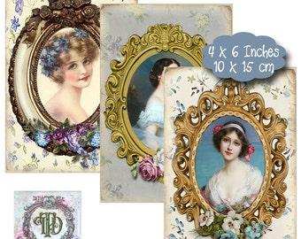 6 Vintage Lady Tags in Blue