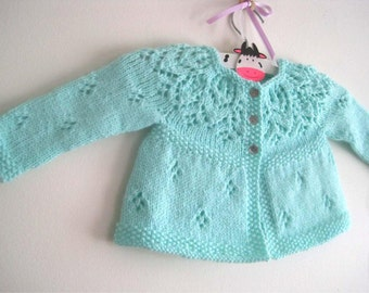 Hannah Cardi - Knitting Pattern - Baby girl to age 6 cardigan - Instant Download PDF