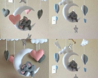 Crib mobile boy,Girl crib mobile,felt mobile,Modern Baby Mobile,Baby mobile hanging,Baby mobile stars,stars mobile,Blue grey,Hot air balloon