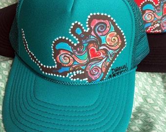Handmade Alaska Love Trucker Hat - Teal