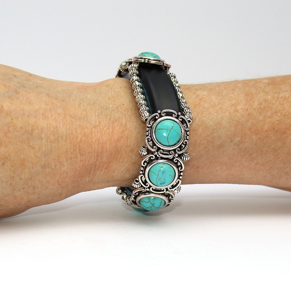 Silver Band Bracelet: FitBit Alta Band Bracelet: Turquoise Circles With Silver