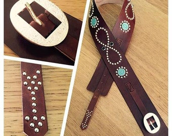 Handmade women western studded belt