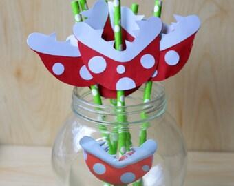 10 Piranha Straws, Mario bros, Super Mario Piranha Custom Straws...