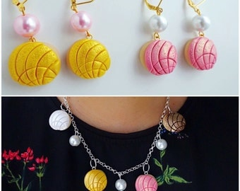 Mexican Concha Polymer Clay Pan Dulce Necklace