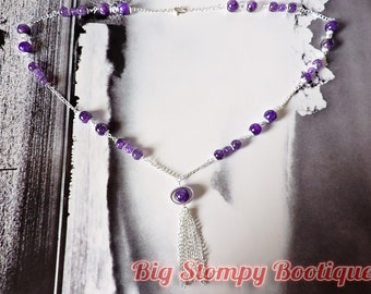Purple Dragon Veined Agate Silver Plated Long Tassle Pendant Necklace