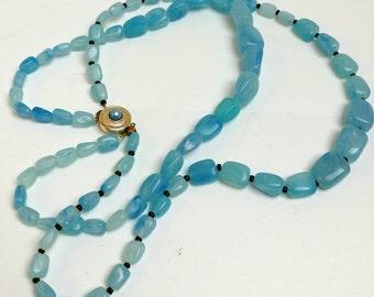 Vintage blue double strand necklace