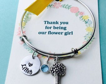 Thank you for being our flower girl, Child Adjustable Bangle Bracelet, Flower Girl Bracelet, Personalized Name Bracelet, Little Girls Bracel