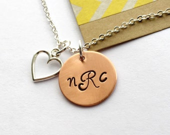 Monogram Necklace, Couples Necklace , Mom Gift, Initial Necklace Heart Charm, Personalized Initial Necklace