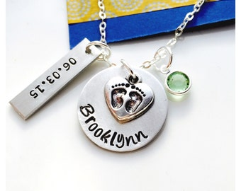 Mom Necklace, Birthstone Necklace, Baby Feet, Footprints, New Baby, New Mom Gift, Baby Shower, Personalized Mom Necklace