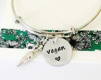 Vegan Bracelet, Hand Stamped Vegan Bracelet, Adjustable Bracelet