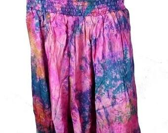 SAROUEL pants dress blue fuschia, pants harem, Indian harem, hippie place meditation boho chic dress shorts sar111