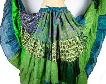 Maxi SKIRT Gypsy FLAMENCO skirt great dancing size green Gypsy patchwork Gypsy Bohemian gypsy T46/60 jgf17