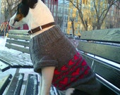 New sleeveless warm sweater grey with pink hearts, Hand knitted clothing for dog, Medium sized dog