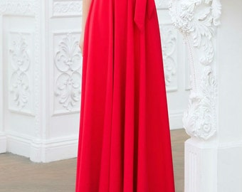 Red skirt Women's casual wear Maxi Skirt with belt Long jersey skirt business clothing