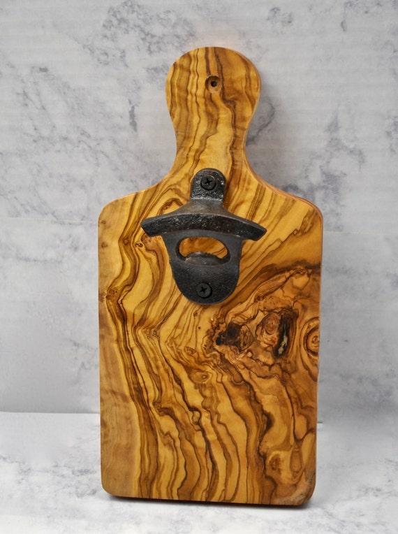 Bottle Opener Magnetic Cap Catcher Olive Wood Cst Iron