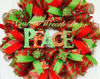 Christmas Wreath, Peace Christmas Wreath, Red and Green Christmas Wreath, Red and Green Holiday Wreath, Deco Poly Mesh Christmas Wreath