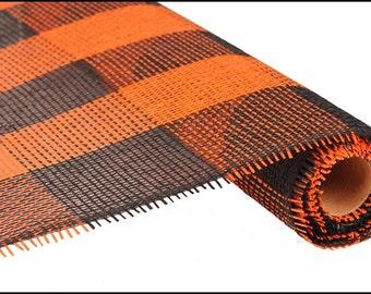 21 inch Orange Black Paper Mesh, Orange Black Check Paper Mesh, Halloween Paper Mesh, Wreath Supplies - (5 Yards) - RE155566