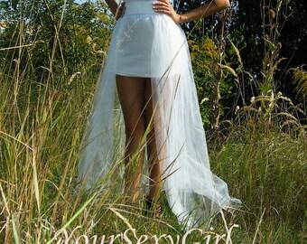 White Tulle Tail, Ivory Tulle Train, Elastic Belt Tulle Skirt, Overskirt, Overlay Skirt