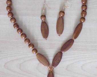 Wooden Bead Decorative necklace and Earrings Set