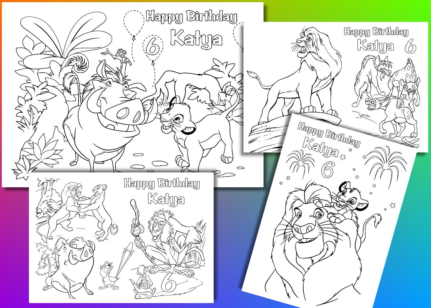 Lion King Birthday coloring pages activity PDF file