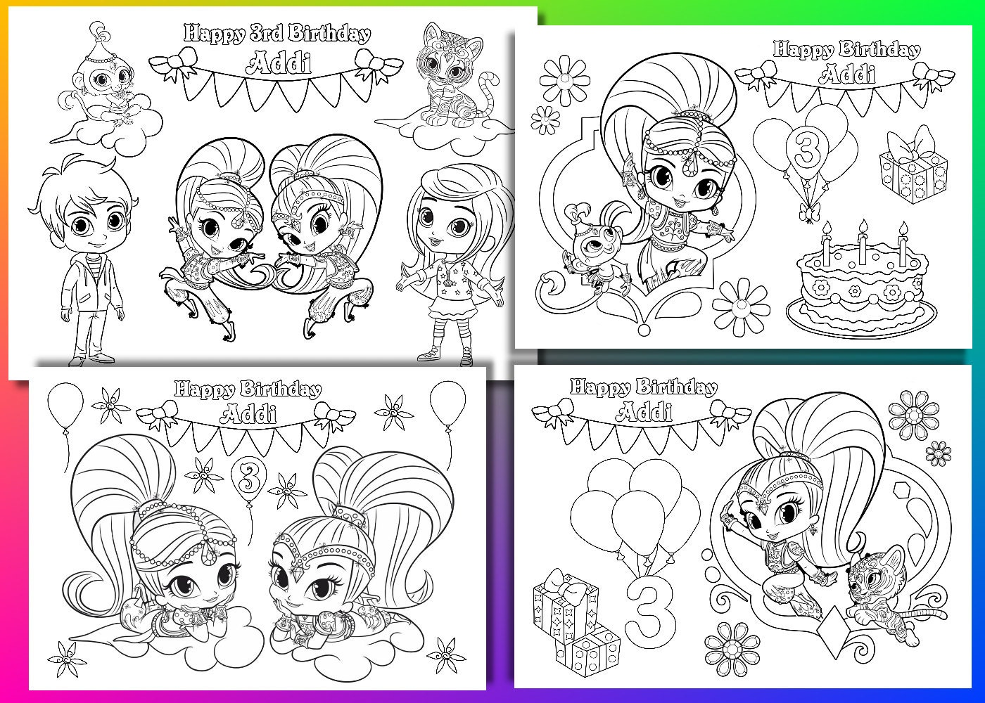 Shimmer and Shine coloring pages Shimmer and Shine Birthday