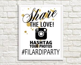 Wedding Instagram Sign, Gold, Digital File, Print at home, Wedding Sign