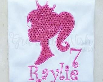 Barbie Silhouette Appliqued Birthday Shirt